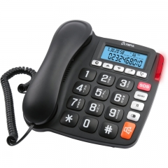 Olympia 4520 Ενσύρματο τηλέφωνο για ηλικιωμένους με φωτιζόμενη οθόνη, μεγάλα πλήκτρα, συμβατό με ακουστικά βαρηκοΐας, ανοιχτή ακρόαση και SOS