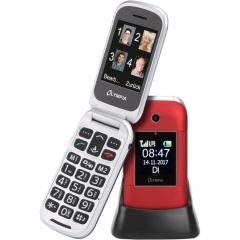 Olympia JANUS GR Κόκκινο (Ελληνικό Μενού) Κινητό τηλέφωνο για ηλικιωμένους με κουμπί SOS, Bluetooth και 2 οθόνες