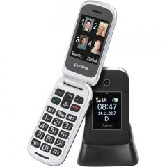 Olympia JANUS GR Μαύρο (Ελληνικό Μενού) Κινητό τηλέφωνο για ηλικιωμένους με κουμπί SOS, Bluetooth και 2 οθόνες